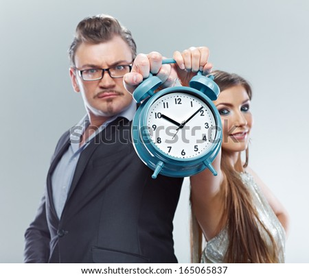 Time management. Business couple time concept. Isolated. Man, woman team.