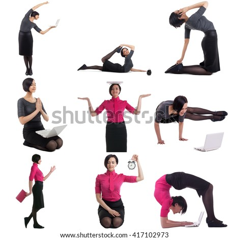 Time management concept. Set of woman doing yoga