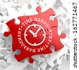 Time Management with Icon of Clock Face Written on Red Puzzle Pieces. Business Concept. - stock photo
