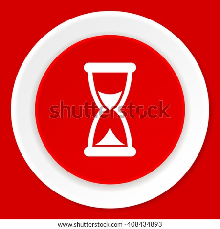 time red flat design modern web icon