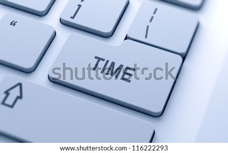 Time text button on keyboard with soft focus