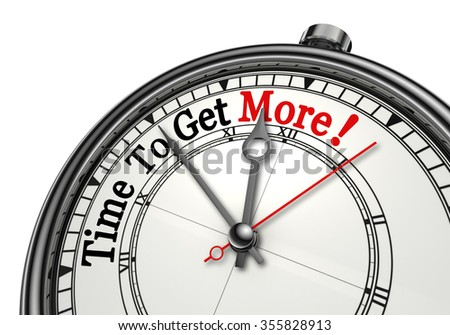 Time to get more motivation message on concept clock, isolated on white background
