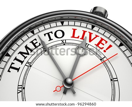 time to live concept clock isolated on white background with clipping path