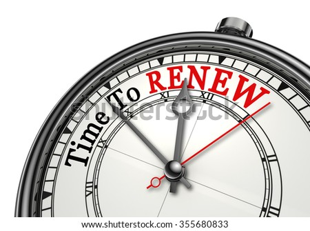 Time to renew red word on concept clock, isolated on white background