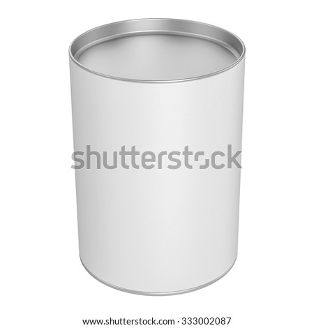 Tin Can for Packaging Candy with metal Cap on white background - mock up
