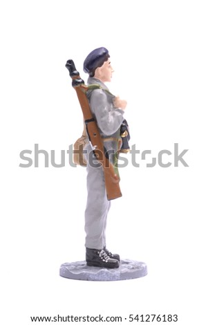 Tin Soldier woman Sniper USSR isolated on white