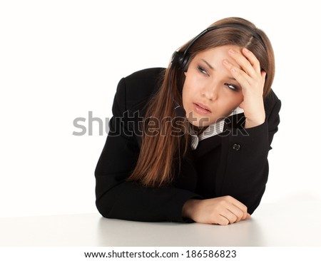 tired assistant with headphones, white background