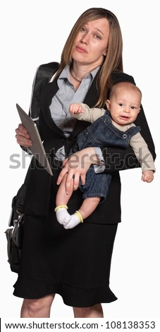 Tired businesswoman with baby over white background