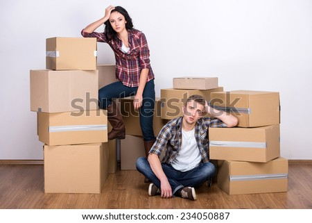 young couple new apartment small dog stock photo 547444582 shutterstock. Black Bedroom Furniture Sets. Home Design Ideas