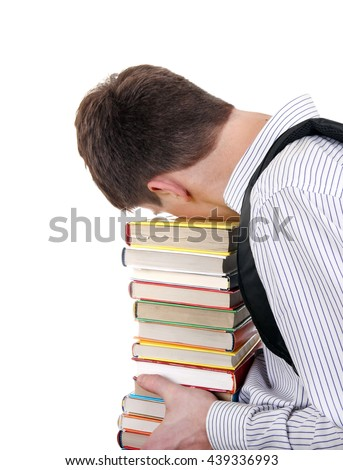 Tired Teenager with the Books Isolated on the White Background