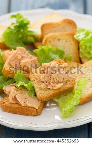 toasts with pate on white dish