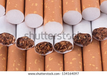 Tobacco in cigarettes with a brown filter