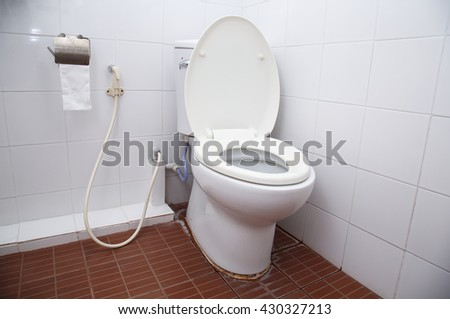 toilet bowl cleaning stock photo 492784597 shutterstock. Black Bedroom Furniture Sets. Home Design Ideas