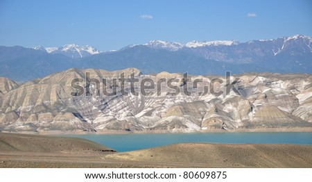 Toktogul water reservoir with striped mountains in background. Kyrgyzstan, 2011