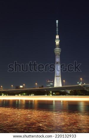 Tokyo - AUG 17 :Tokyo sky tree is the highest free-standing structure in Japan and 2nd in the world. In Summer Sky tree will be illuminate by many colorful LED light on AUG 17,2014 in Tokyo Japan