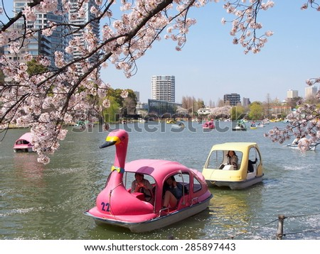 TOKYO, JAPAN - APRIL 2: Boats on Shinobazu Pond at Ueno Park on April 2, 2015 in Tokyo, Japan. Ueno Park is the most famous place to enjoy viewing cherry blossoms which is a Japanese custom.