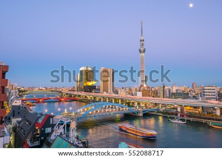 Tokyo skyline with the Sumida River in Japan