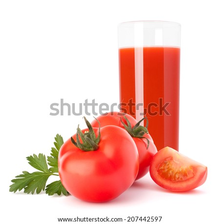 Tomato fruit juice in glass isolated on white background cutout