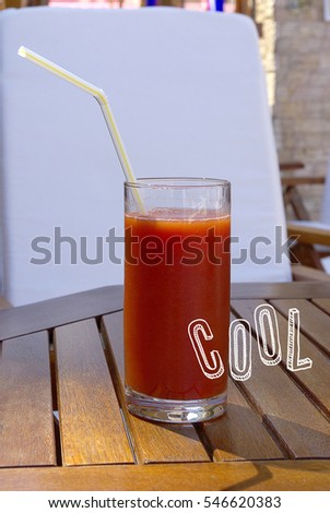 Tomato juice in a table