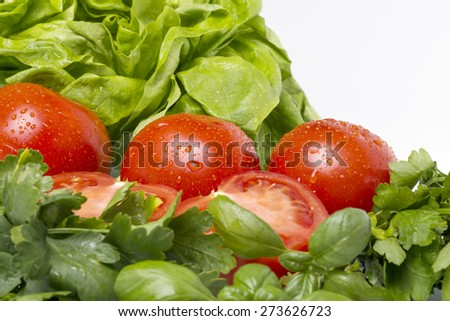 Tomato salad isolated in studio with green salad
