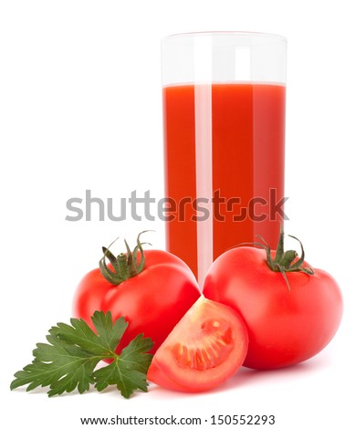 Tomato vegetable juice in glass isolated on white background