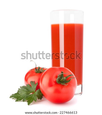 Tomato vegetable juice in glass isolated on white background cutout