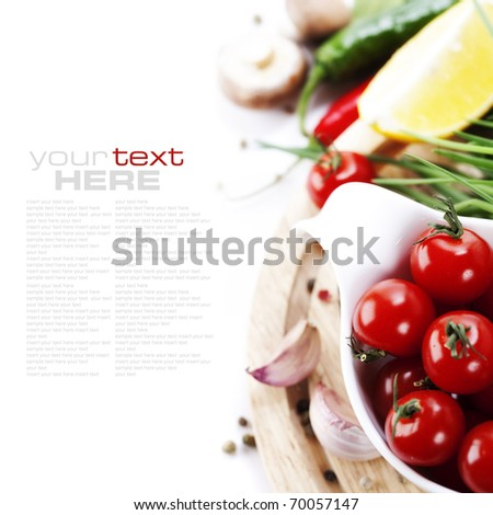 Tomatos, chives, peppers, lemon, mushrooms and garlic on white background. With sample text