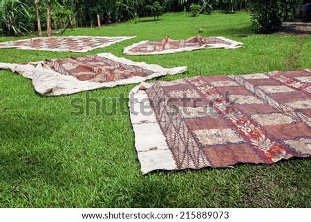 Tongan tapas drying on the grass - Eua Island, Tonga.