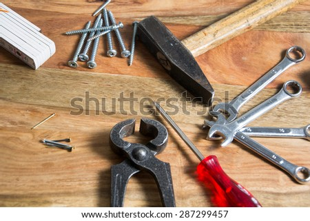 tool on wooden background