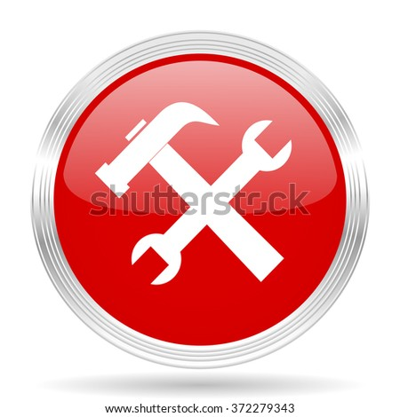 tool red glossy circle modern web icon on white background