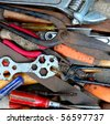 Tools, pliers, wrench, antique - stock photo