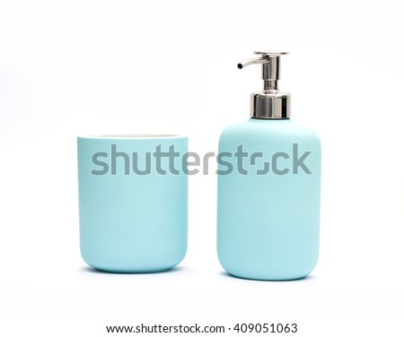 Toothbrush cup and gottle with liquid soap