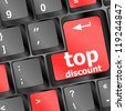 top discount concept sign on computer key, raster - stock photo