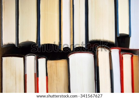 Top edge view of books
