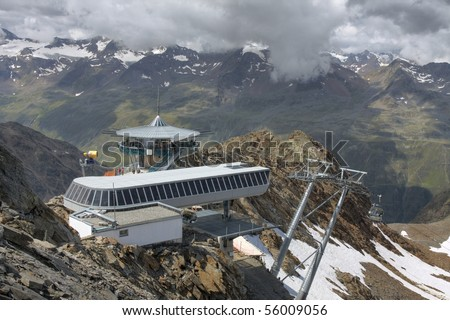 Top of a mountain chairlift in the alps