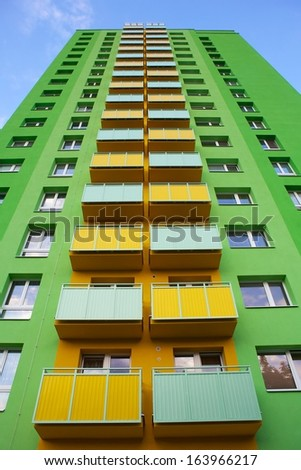 small old apartment building. Top of old apartment building after revitalization  Ostrava Czech Republic Old Industrial Buildings Lower Area Vitkovice Stock Photo