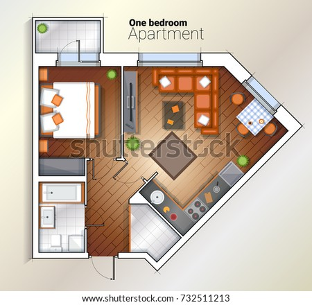 Architectural color floor planstudio apartment - Architectural plan of two bedroom flat with dining room ...