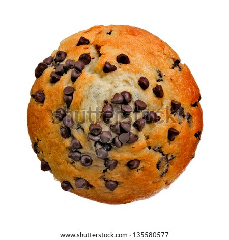 Top View of a Chocolate Chip Muffin Isolated on a White Background