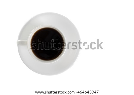 Top view of a cup of coffee on plate on white background with clipping path