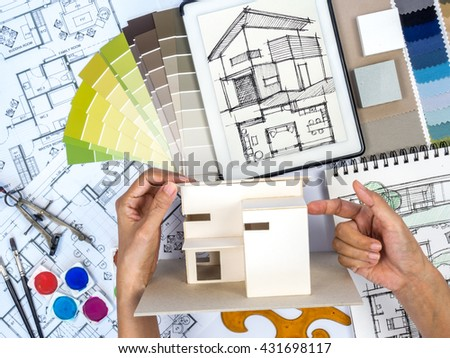 Interior Designers At Work top view architect interior designer working stock photo 424379287