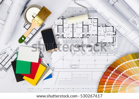 top view construction plans whitewashing tools stock photo 529736533 shutterstock. Black Bedroom Furniture Sets. Home Design Ideas