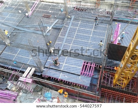 Top view of construction site in the Bangkok city