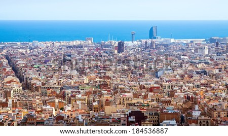 Top view of historic district at Barcelona in sunny day, Spain