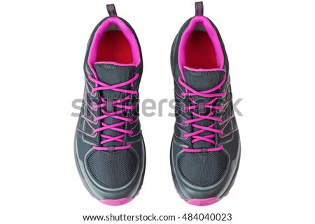 Top view of lightweight hiking boots shoes for women in black and pink, isolated on white background