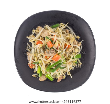 Top view of stir fried bean sprout with  pork isolated on white