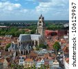 Top view of the Saint Salvator Cathedral in Bruges, Belgium - stock photo