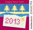 Torn exercise book in the box with the date 2013 painted. Applique of cut Christmas trees and colored paper. Congratulations on the new year. raster version - stock vector