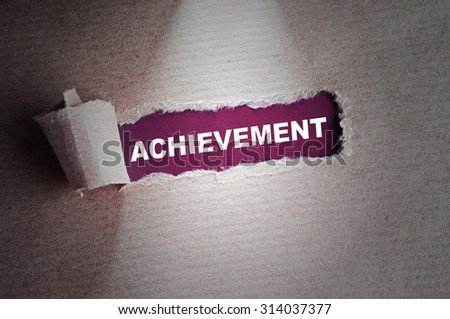 Torn paper with Achievement Word