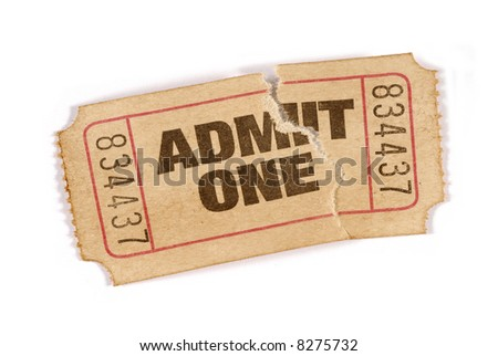 Torn ticket : old vintage admit one movie ticket stub isolated on white background.