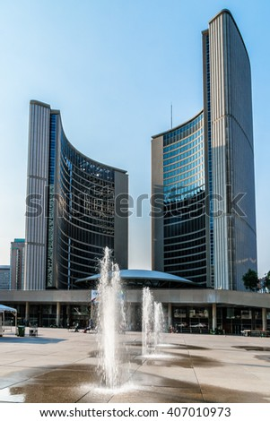 TORONTO, CANADA - 23 JULY, 2014: Modern Architecture in Downtown Toronto. Downtown Toronto has prominent buildings in a variety of styles by many famous architects.